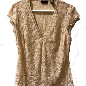 New York & Company tan lace v-neck top medium